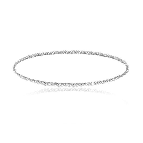 Kruhový stříbrný 925 náramek stříbrné barvy – spirálovitě zatočené pruhy