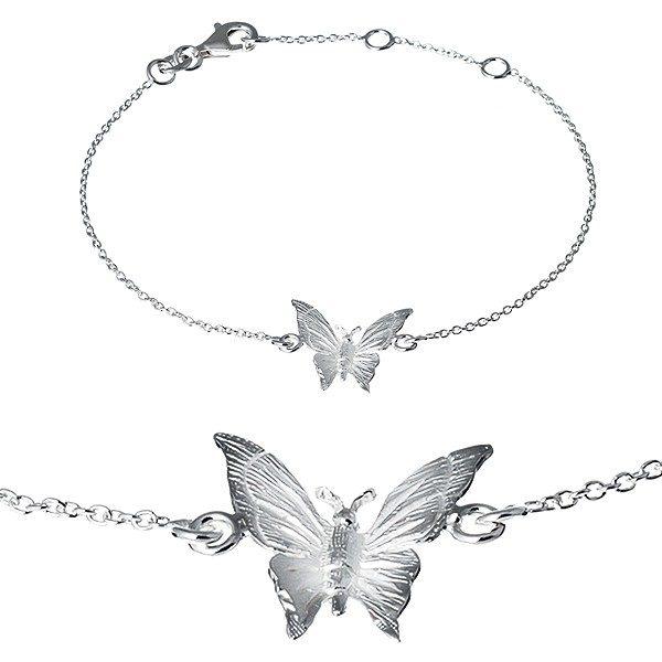 Náramek ze stříbra 925 – gravírovaný motýlek na řetízku