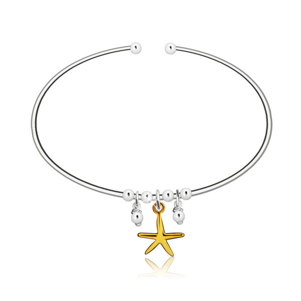 Navlékací kruhový náramek ze stříbra 925 – hvězdice ve zlaté barvě