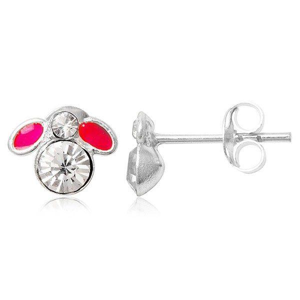 Puzetové náušnice ze stříbra 925 – malá muška s růžovými křídly