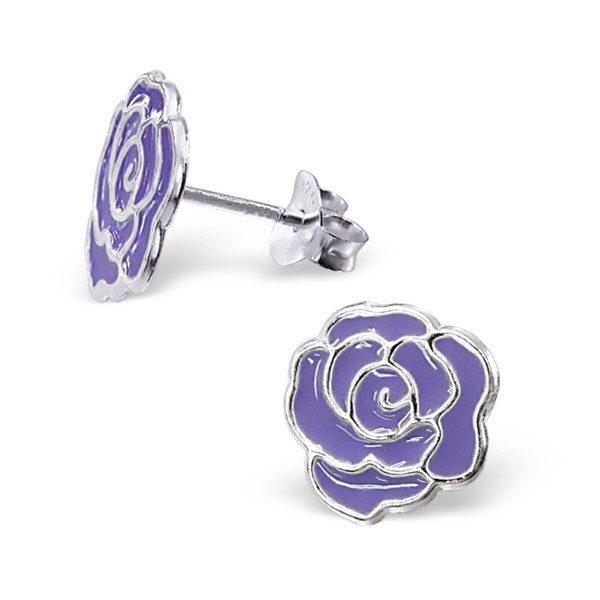 Puzetové stříbrné náušnice 925 – růže – Barva: Červená