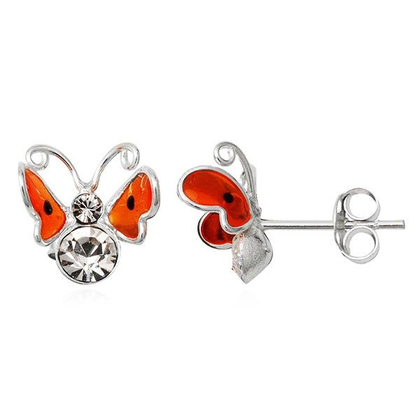 Stříbrné náušnice 925 – 3D oranžový motýl