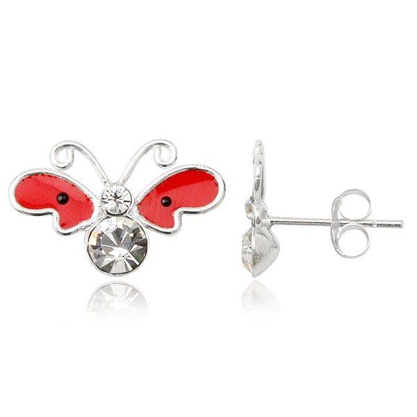 Stříbrné náušnice 925 – motýl
