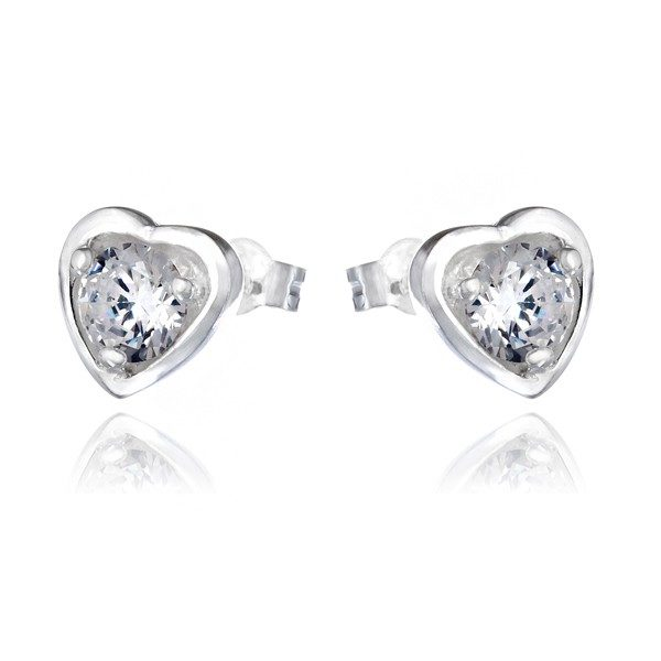 Stříbrné náušnice 925 – zirkon v srdcovém rámečku
