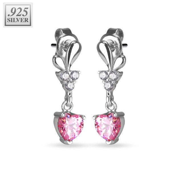 Stříbrné náušnice 925 – zirkonové růžové srdíčko