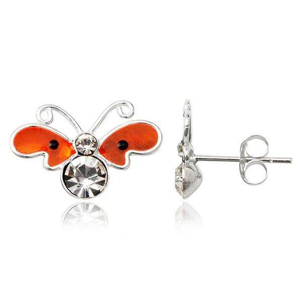 Stříbrné puzetové náušnice – plochý oranžový motýl