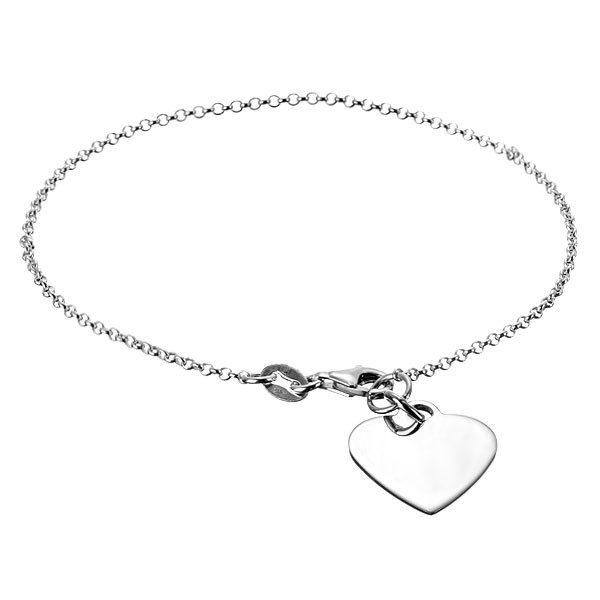Stříbrný řetízek 925 na ruku s plochým srdcem a karabinkou