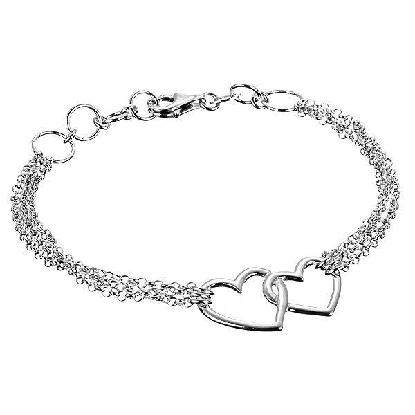 Stříbrný náramek 925 – dvě nepravidelná obrysová srdce a trojitý řetízek