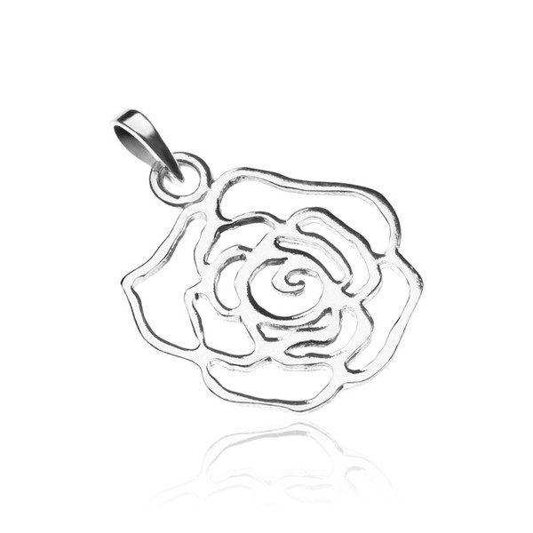 Stříbrný přívěsek 925 – lesklý obrys růže