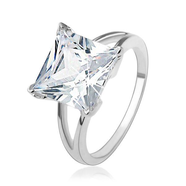 Zásnubní stříbrný 925 prsten s masivním čtvercovým zirkonem – Velikost: 56