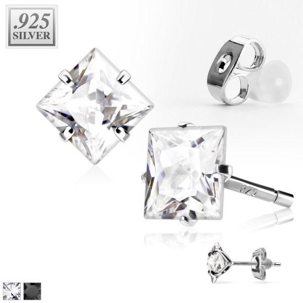 Puzetkové náušnice z 925 stříbra – lesklý zirkon ve tvaru čtverce