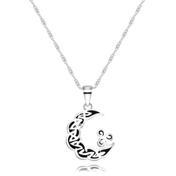 Náhrdelník z 925 stříbra – měsíc s ornamenty a patinou