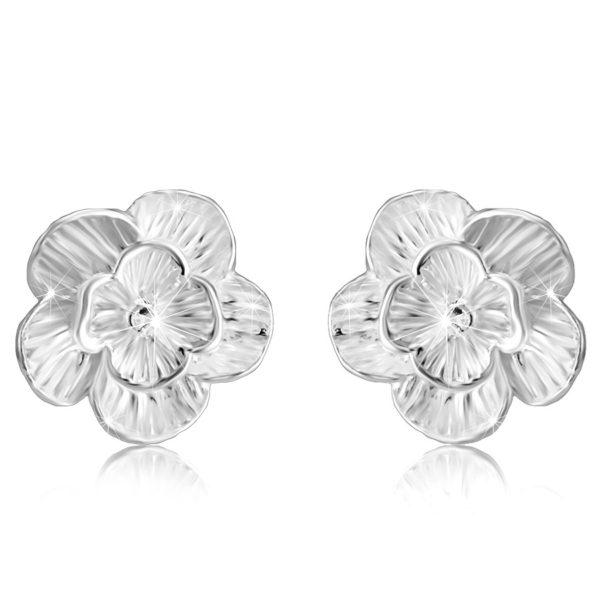 Náušnice z 925 stříbra – rozkvetlý květ