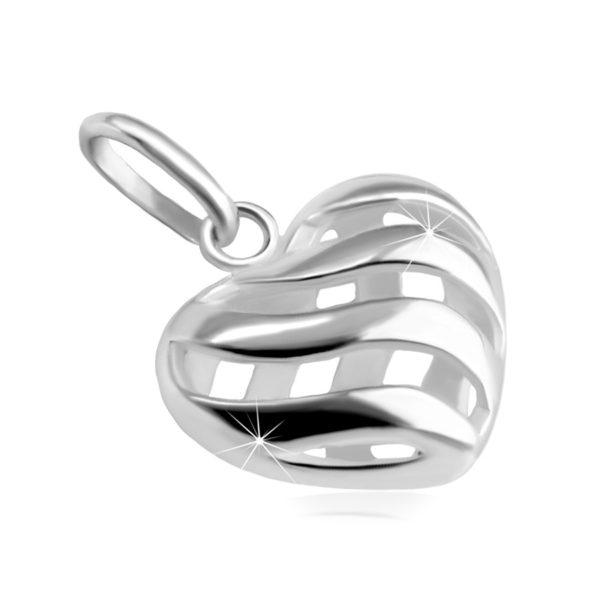 Přívěsek z 925 stříbra – vypouklé srdce s výřezy