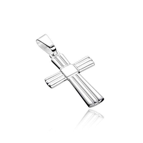 Přívěsek ze stříbra 925 – kříž s vroubky a hladkým čtvercem