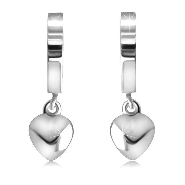 Stříbrné 925 kloubové náušnice – zrcadlově lesklé kruhy se srdíčkem