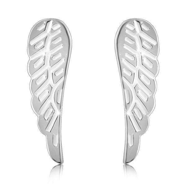 Stříbrné 925 náušnice – andělská křídla s rýhováním