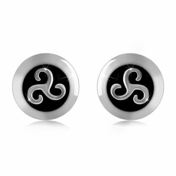 Stříbrné 925 náušnice – triskelion zdobený patinou