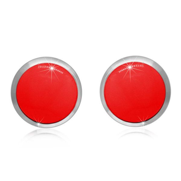 Stříbrné náušnice 925 – červená glazura v kulaté objímce