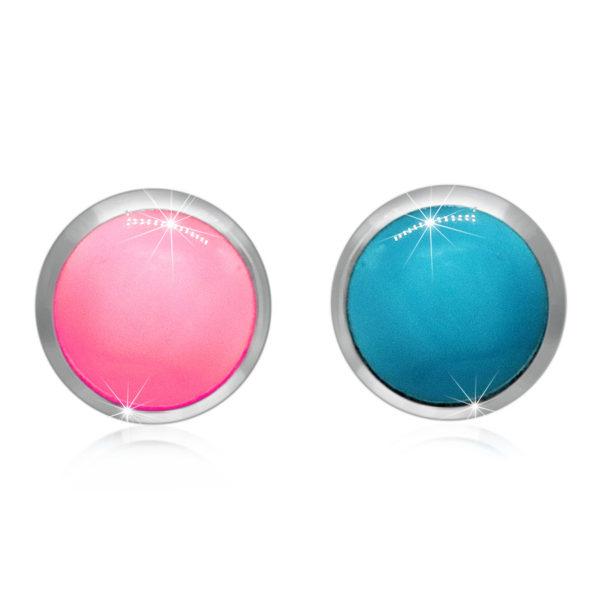 Stříbrné náušnice 925 – glazura růžové a modré barvy v kulaté objímce