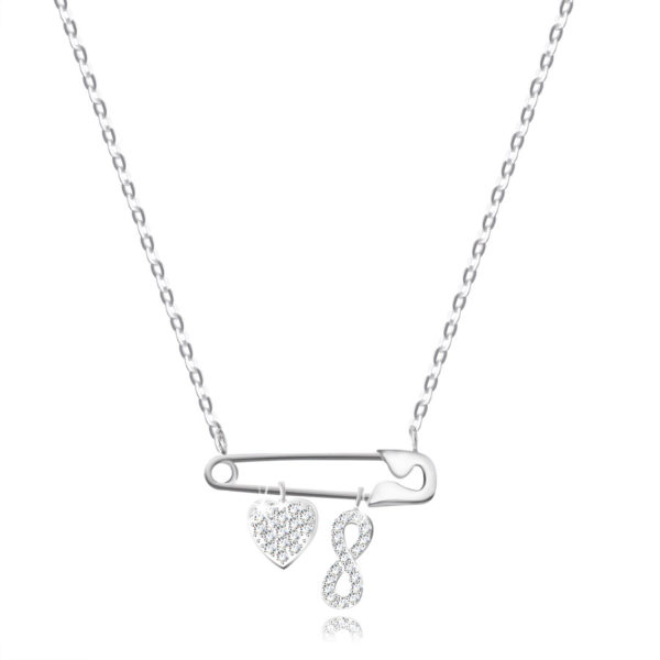Stříbrný 925 náhrdelník – spínací špendlík s přívěsky ve tvaru srdce a vzor Infinity