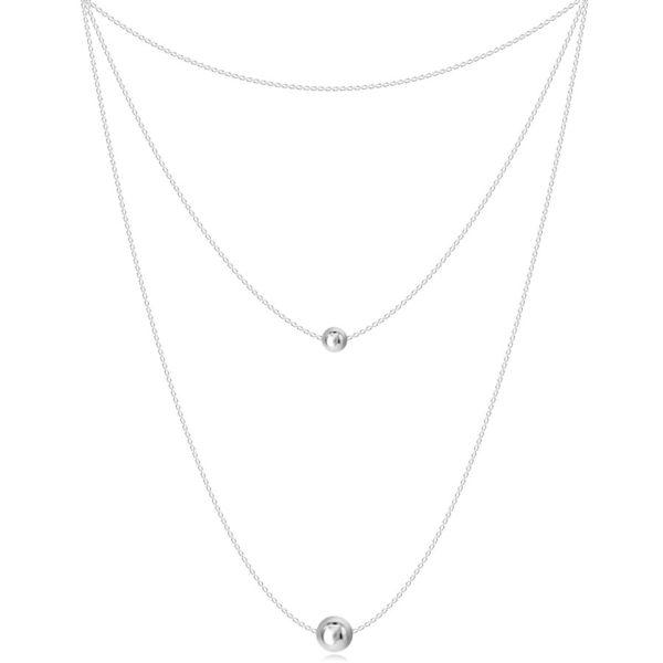 Stříbrný 925 náhrdelník – tři řetízky různých délek