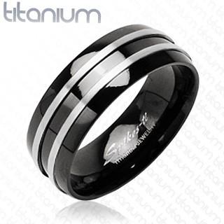Černý prsten z titanu - dva stříbrné tenké pásy - Velikost: 67