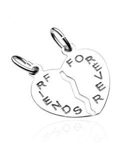 Dvojpřívěsek ze stříbra 925 - přelomené srdce s nápisem FRIENDS FOREVER