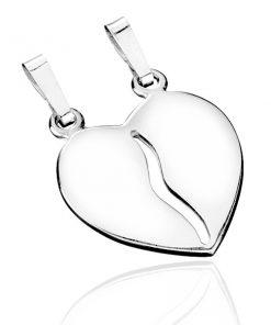 Dvojpřívěsek ze stříbra 925 - rozpůlené lesklé srdce