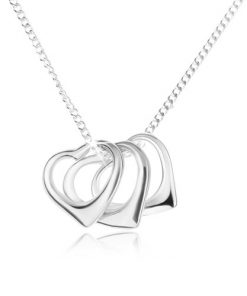Náhrdelník - řetízek a obrysy tří srdcí