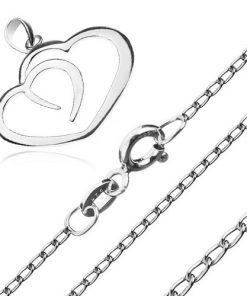 Náhrdelník ze stříbra 925 - linie dvou srdcí na řetízku z podlouhlých oček