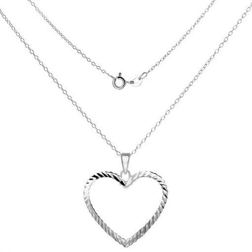 Náhrdelník ze stříbra 925 - řetízek s obrysem srdce