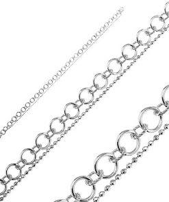 Náramek ze stříbra 925 - dvojřetízek z kuliček a kroužků