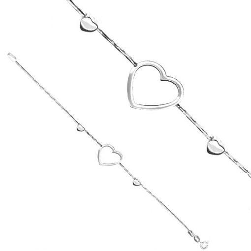 Náramek ze stříbra 925 - obrysové srdce na hádkovém řetízku