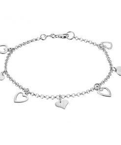 Náramek ze stříbra 925 - plochá plná a obrysová srdce na řetízku