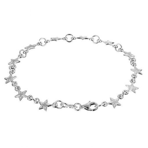 Náramek ze stříbra 925 - ploché hvězdičky