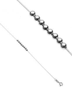 Náramek ze stříbra 925 - řada lesklých kuliček na řetízku