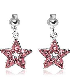 Náušnice ze stříbra 925 - přívěsek růžová hvězda se zirkony