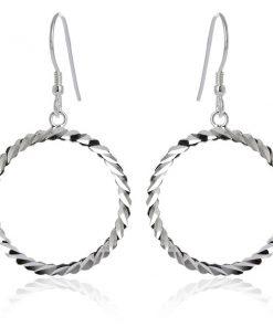 Náušnice ze stříbra 925 - vlnkovité kruhy