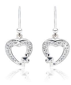 Náušnice ze stříbra - čiré zirkonové obrysy srdcí