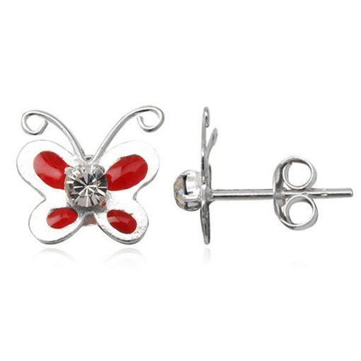 Náušnice ze stříbra - glazurový červený motýlk