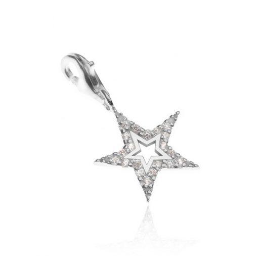 Přívěsek na náramek ze stříbra 925 - třpytivá hvězda s výsekem