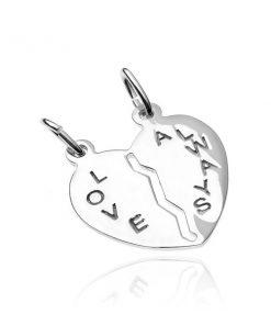 Přívěsek pro dva ze stříbra 925 - přelomené srdce s nápisem Love Always