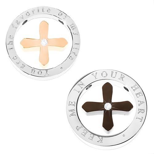 Přívěsek pro pár - černý a bronzový kříž ve stříbrné obruči s nápisem