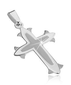 Přívěsek ze stříbra 925 - kříž s matným středem
