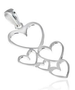 Přívěsek ze stříbra 925 - lesklé kontury spojených srdcí