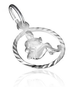 """Přívěsek ze stříbra 925 - lesklý kruh a znamení """"vodnář"""""""