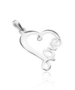 Přívěsek ze stříbra 925 - linie srdce s nápisem LOVE