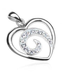 Přívěsek ze stříbra 925 - linie srdce se zirkonovou spirálou