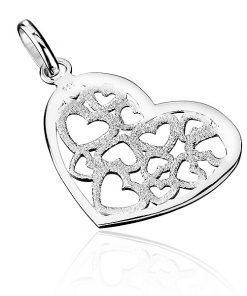 Přívěsek ze stříbra 925 - pískované filigránové srdce